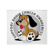 Brain Cancer Dog Throw Blanket