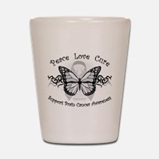 Brain Cancer Tribal Butterfly Shot Glass