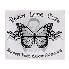 Brain Cancer Tribal Butterfly Throw Blanket