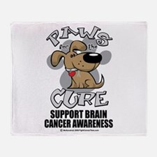 Brain Cancer Paws for the Cur Throw Blanket