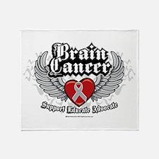 Brain Cancer Wings Throw Blanket
