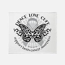Brain Cancer Butterfly Tribal Throw Blanket