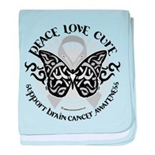 Brain Cancer Butterfly Tribal baby blanket