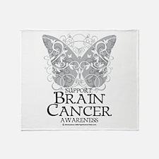 Brain Cancer Butterfly Throw Blanket
