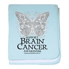 Brain Cancer Butterfly baby blanket