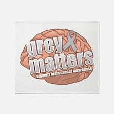 Brain Cancer: Grey Matters Throw Blanket