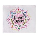 Breast Cancer Lotus Throw Blanket