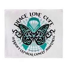 Cervical Cancer Tribal Butter Throw Blanket