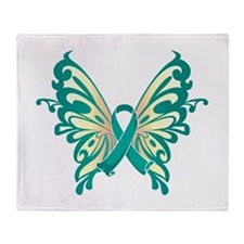 Cervical Cancer Butterfly Throw Blanket
