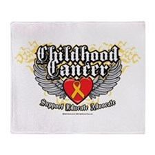 Childhood Cancer Wings7 Throw Blanket