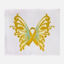 Childhood Cancer Butterfly Throw Blanket