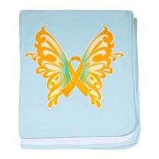 Childhood Cancer Butterfly baby blanket