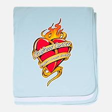 Childhood Cancer Tattoo Heart baby blanket