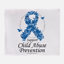 Child Abuse Ribbon Of Butterf Throw Blanket