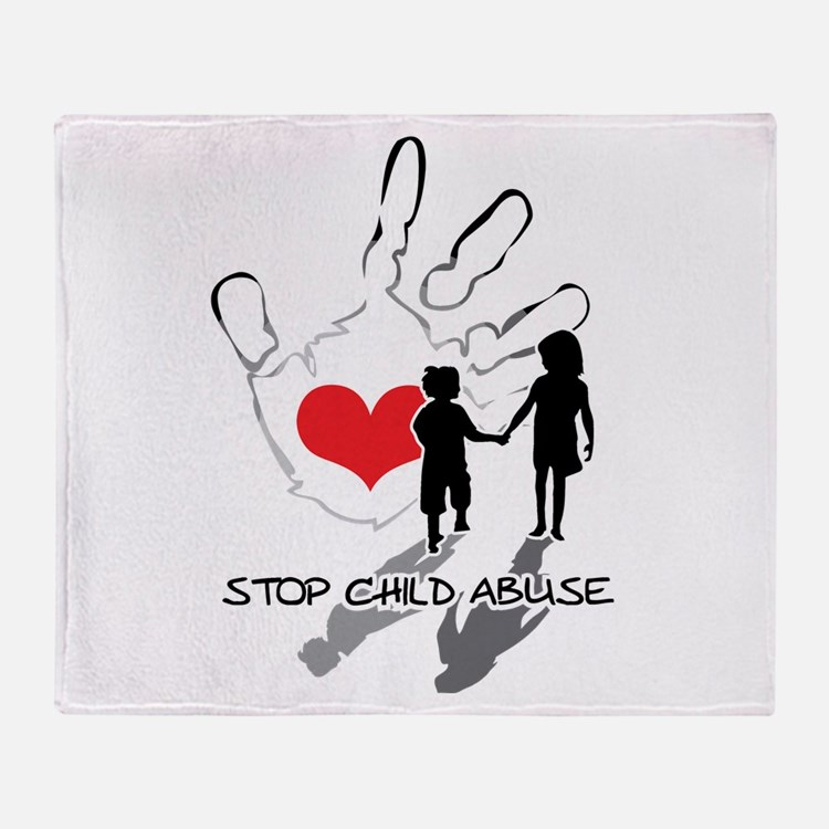 Cute Blue ribbon stop child abuse Throw Blanket