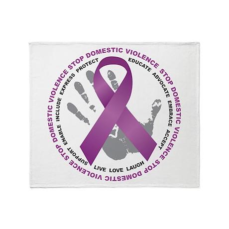Stop Domestic Violence Ribbon Throw Blanket