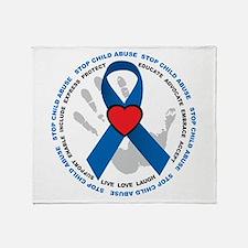 Stop Child Abuse Ribbon Throw Blanket
