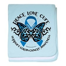 Colon Cancer Tribal Butterfly baby blanket
