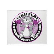 Crohn's Disease Fighter Cat Throw Blanket