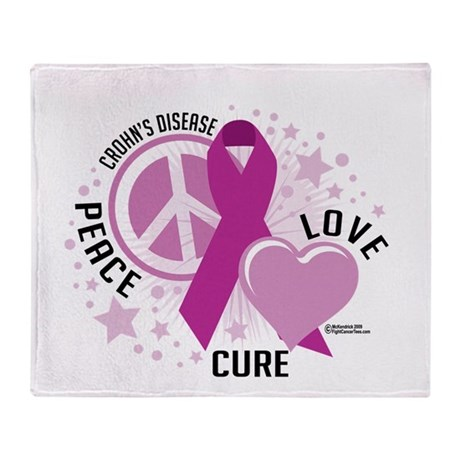 Crohn's Disease Peace Love Cu Throw Blanket