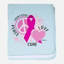 Crohn's Disease Peace Love Cu baby blanket