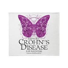 Crohn's Disease Butterfly Throw Blanket
