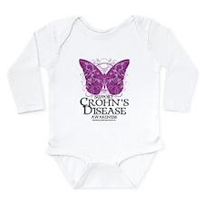 Crohn's Disease Butterfly Long Sleeve Infant Bodys