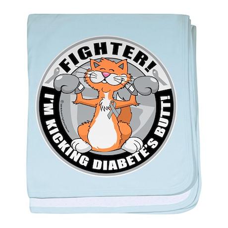 Diabetes Fighter Cat baby blanket
