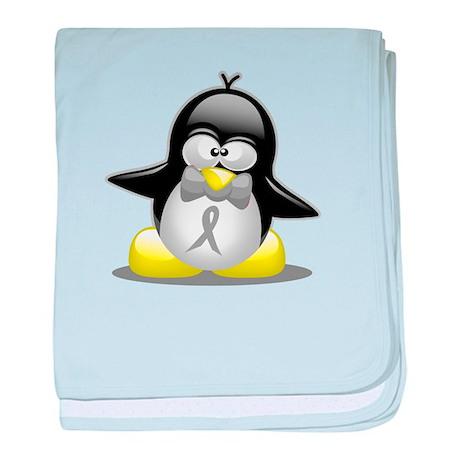 Grey Ribbon Penguin baby blanket