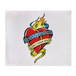 Down Syndrome Tattoo Heart Throw Blanket