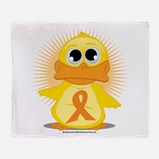 Orange Ribbon Duck Throw Blanket