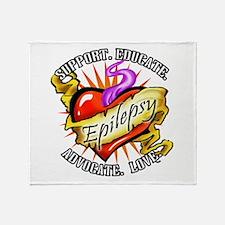 Epilepsy Tattoo Heart Throw Blanket