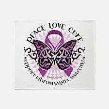 Fibromyalgia Butterfly Tribal Throw Blanket