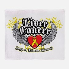 Liver Cancer Wings Throw Blanket