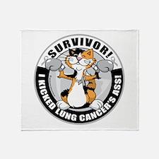 Lung Cancer Cat Survivor Throw Blanket