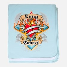 Lung Cancer Cross And Heart baby blanket