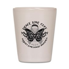 Lung Cancer Butterfly Tribal Shot Glass