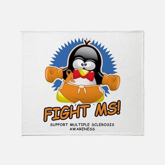 Fight MS Penguin Throw Blanket