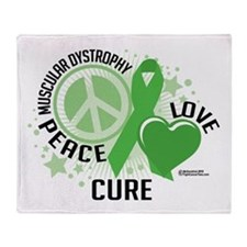 Muscular Dystrophy Peace Love Throw Blanket