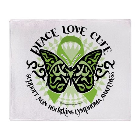 Non-Hodgkins Lymphoma Butterf Throw Blanket