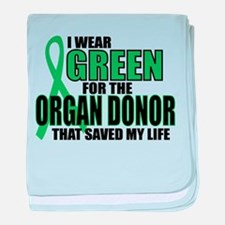 Green For Organ Donor baby blanket