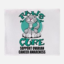 Ovarian Cancer Paws for the C Throw Blanket