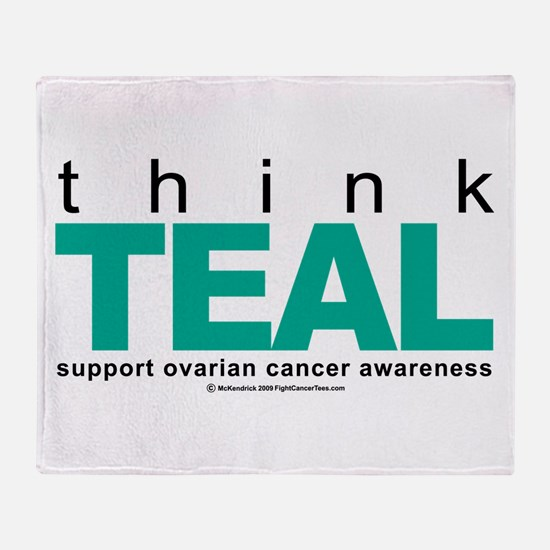 Ovarian Cancer THINK TEAL Throw Blanket