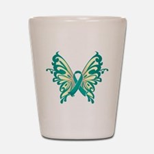 Ovarian Cancer Butterfly Shot Glass