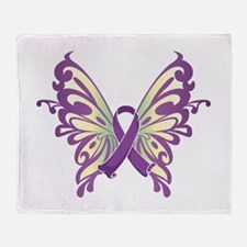 Pancreatic Cancer Butterfly Throw Blanket