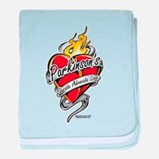 Parkinson's Tattoo Heart baby blanket