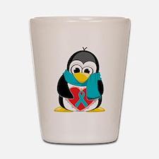 Teal Ribbon Scarf Penguin Shot Glass
