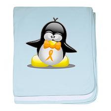 Gold Awareness Ribbon Penguin baby blanket