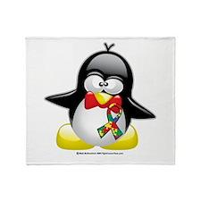 Autism Penguin Throw Blanket