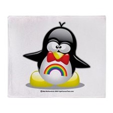 Rainbow Penguin Throw Blanket